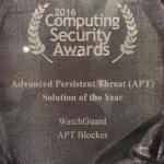 Watchguard remporte un AWARD de sécurité avec l'APT Blocker !